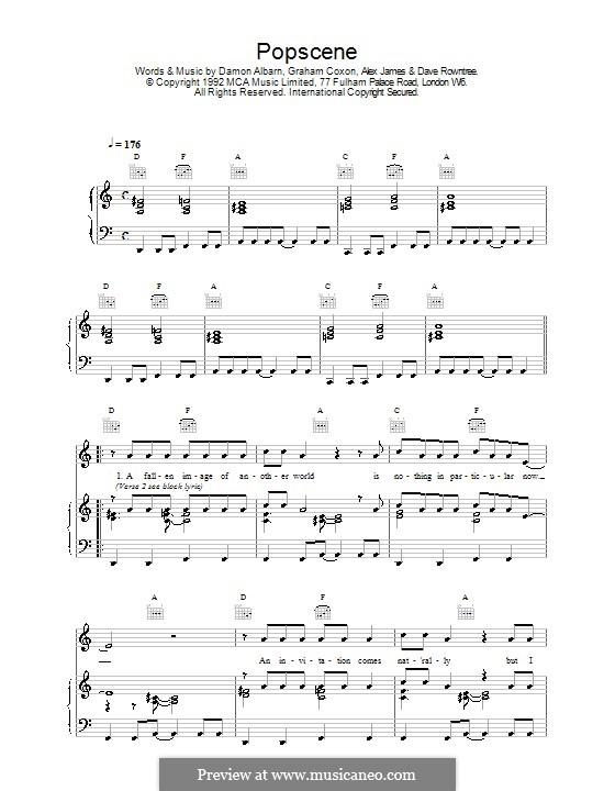 Popscene (Blur): Para vocais e piano (ou Guitarra) by Alex James, Damon Albarn, David Rowntree, Graham Coxon