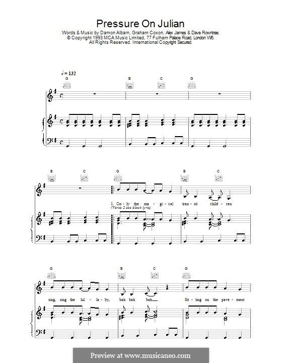 Pressure on Julian (Blur): Para vocais e piano (ou Guitarra) by Alex James, Damon Albarn, David Rowntree, Graham Coxon
