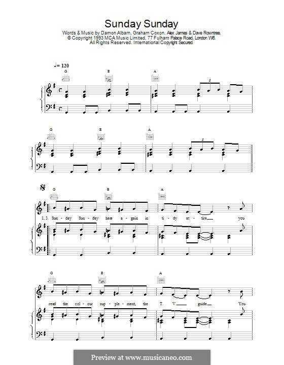 Sunday Sunday (Blur): Para vocais e piano (ou Guitarra) by Alex James, Damon Albarn, David Rowntree, Graham Coxon