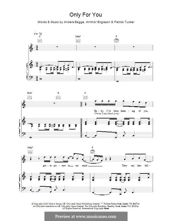 Only for You (Ronan Keating): Para vocais e piano (ou Guitarra) by Anders Bagge, Arnthor Birgisson