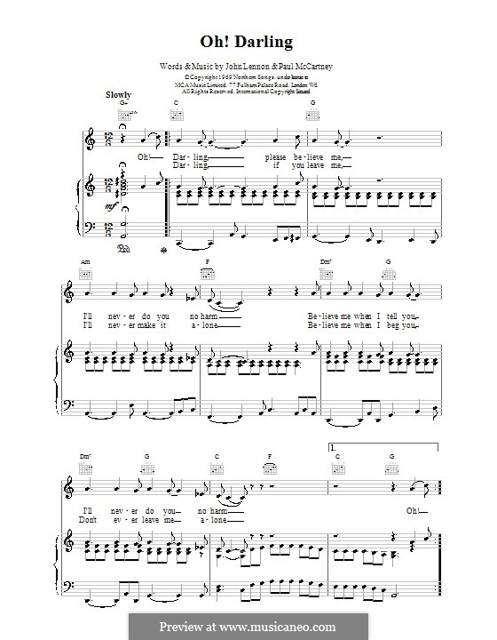 Oh! Darling (The Beatles): Para vocais e piano (ou Guitarra) by John Lennon, Paul McCartney