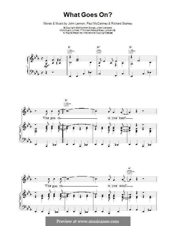 What Goes on? (The Beatles): Para vocais e piano (ou Guitarra) by John Lennon, Paul McCartney, Ringo Starr
