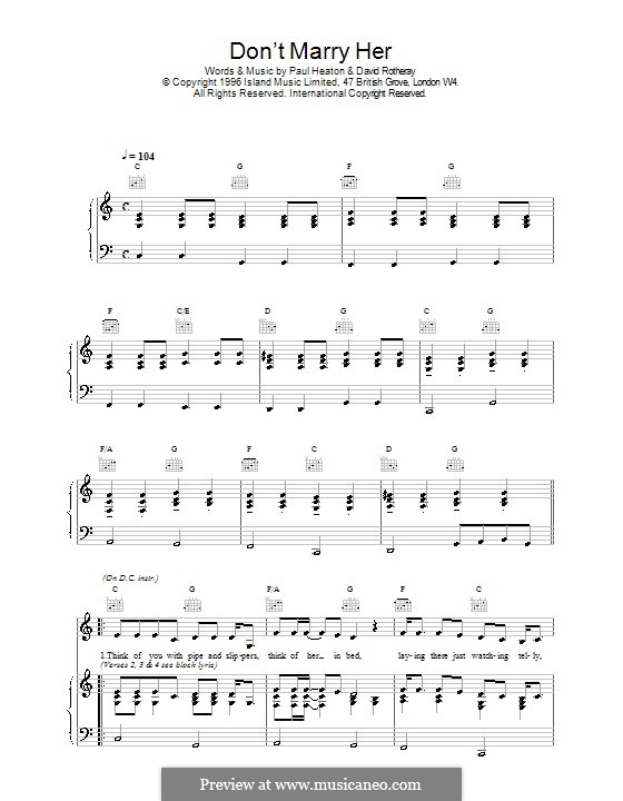 Don't Marry Her (The Beautiful South): Para vocais e piano (ou Guitarra) by David Rotheray, Paul Heaton