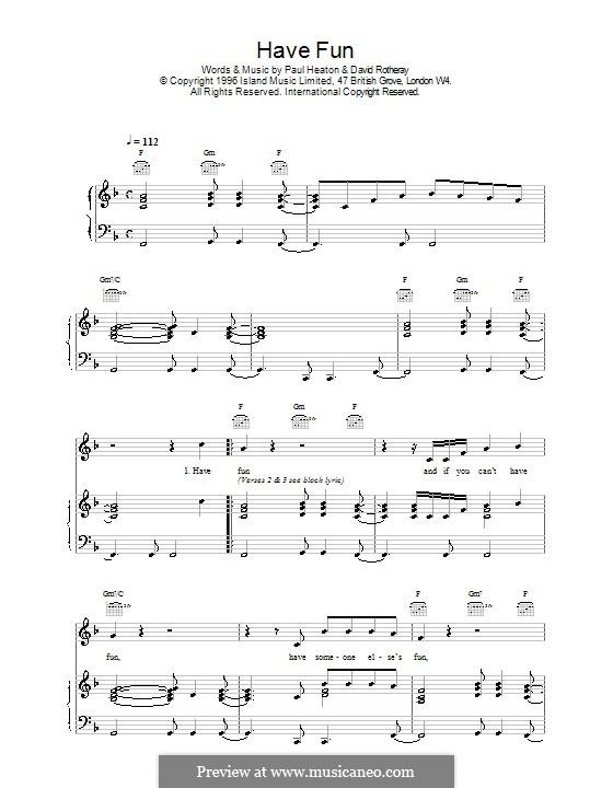 Have Fun (The Beautiful South): Para vocais e piano (ou Guitarra) by David Rotheray, Paul Heaton