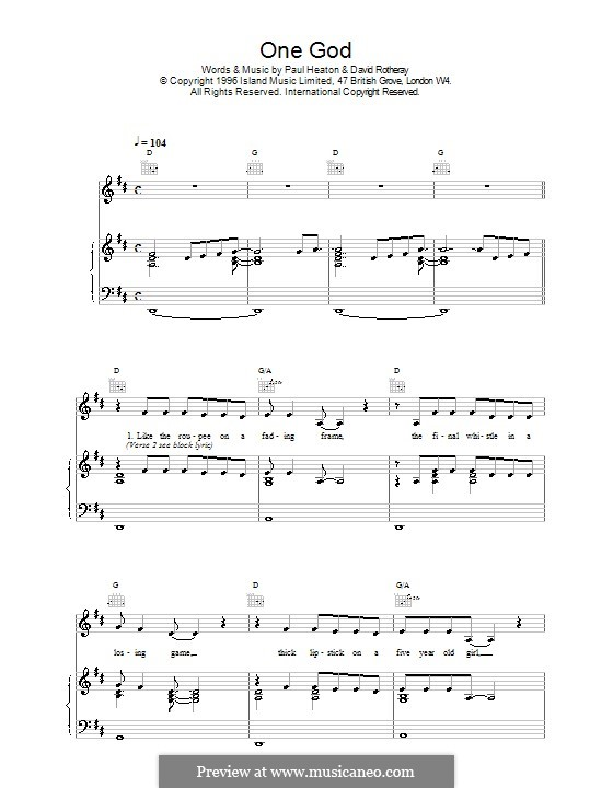 One God (The Beautiful South): Para vocais e piano (ou Guitarra) by David Rotheray, Paul Heaton