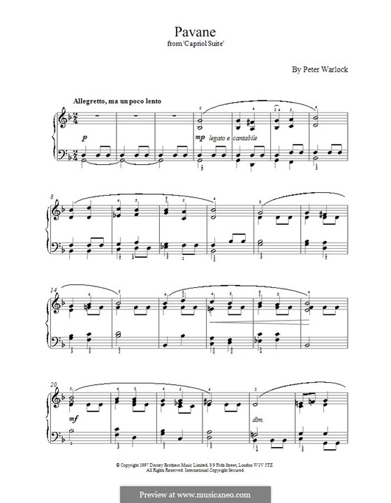 Capriol Suite: No.2 Pavane by Peter Warlock