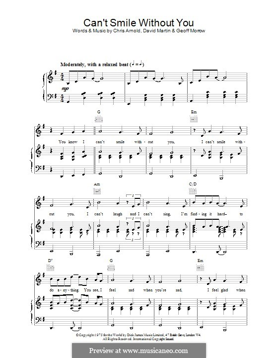 Can't Smile without You (Barry Manilow): Para vocais e piano (ou Guitarra) by Chris Arnold, David Martin, Geoff Morrow