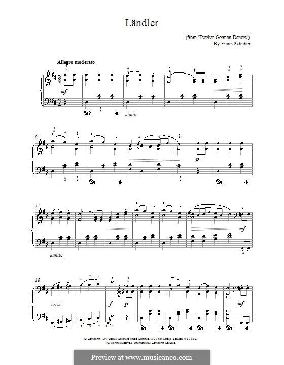 Twelve German Dances, D.420: Dance (Ländler) No.1 by Franz Schubert