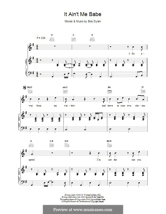 It Ain't Me Babe: Para vocais e piano (ou Guitarra) by Bob Dylan