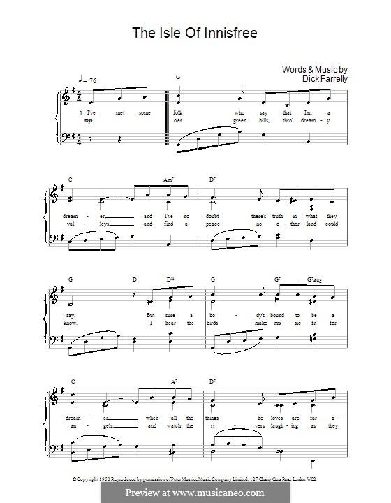 The Isle of Innisfree: Para vocais e piano (ou Guitarra) by Dick Farrelly