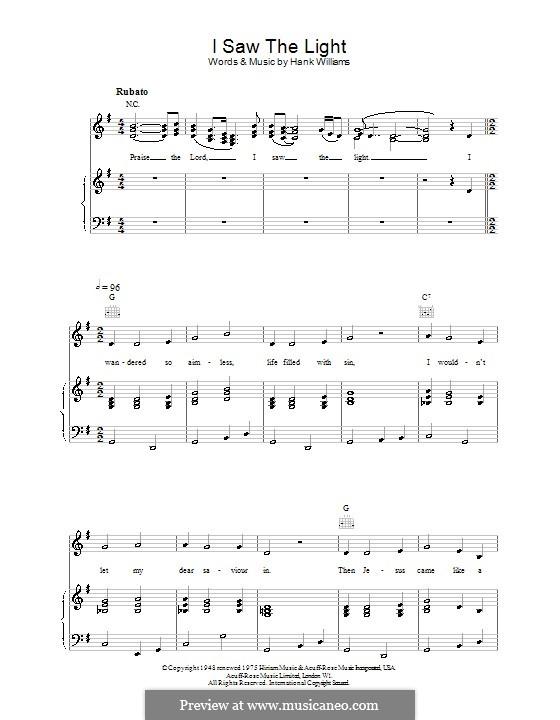 I Saw the Light: Para vocais e piano (ou Guitarra) by Hank Williams