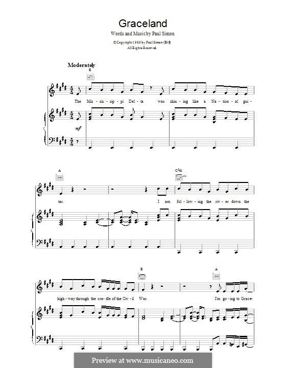 Graceland: Para vocais e piano (ou Guitarra) by Paul Simon