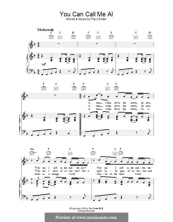You Can Call Me Al: Para vocais e piano (ou Guitarra) by Paul Simon