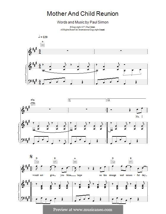 Mother and Child Reunion: Para vocais e piano (ou Guitarra) by Paul Simon