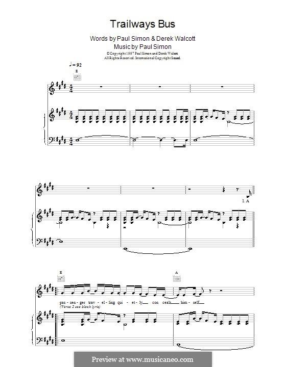 Trailways Bus: Para vocais e piano (ou Guitarra) by Paul Simon