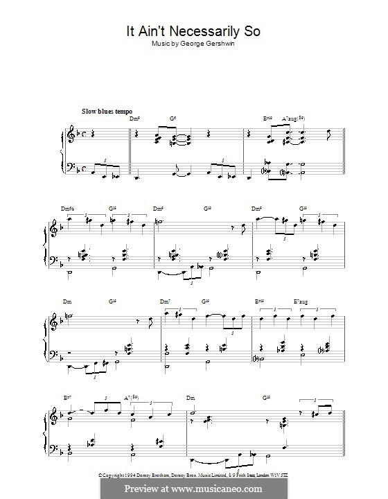It ain't Necessarily So: For piano (Sammy Cahn) by George Gershwin