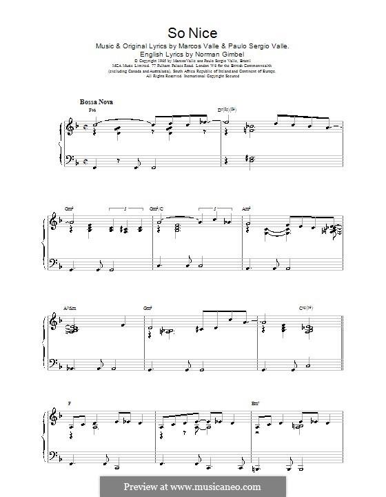 So Nice (Summer Samba): Para Piano by Marcos Valle, Paulo Sergio Valle