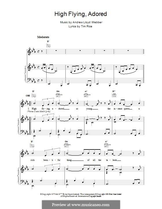 High Flying, Adored: Para vocais e piano (ou Guitarra) by Andrew Lloyd Webber