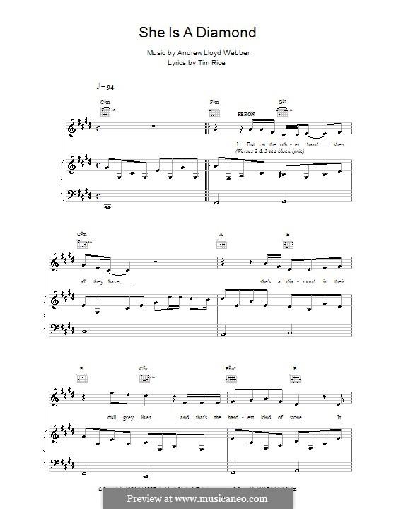 She Is a Diamond: Para vocais e piano (ou Guitarra) by Andrew Lloyd Webber