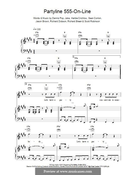 Partyline 555 on Line (Five): Para vocais e piano (ou Guitarra) by Denniz Pop, Herbie Crichlow