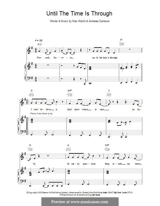 Until the Time Is Through (Five): Para vocais e piano (ou Guitarra) by Andreas Carlsson, Max Martin