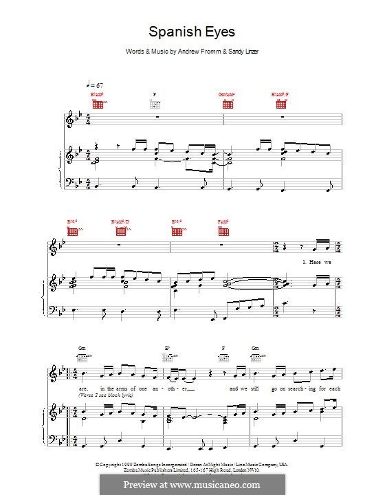 Spanish Eyes (Backstreet Boys): Para vocais e piano (ou Guitarra) by Andrew Fromm, Sandy Linzer