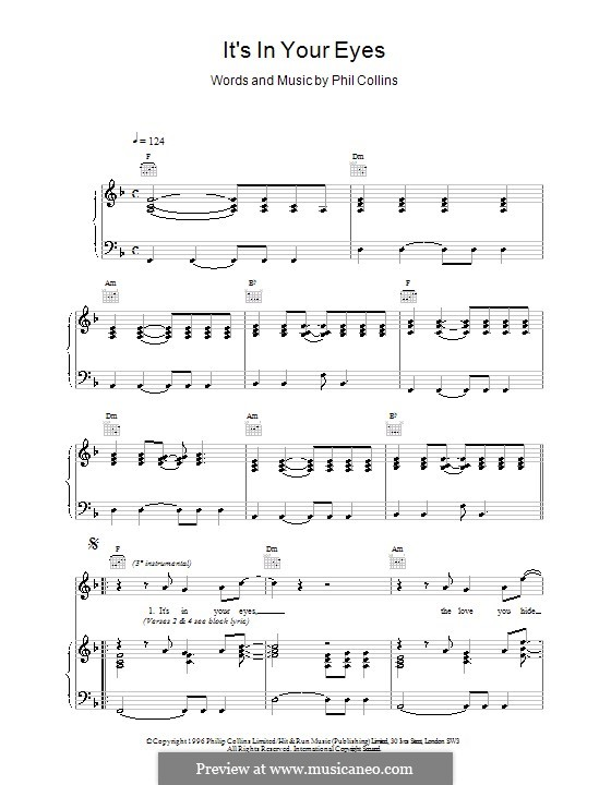 It's in Your Eyes: Para vocais e piano (ou Guitarra) by Phil Collins