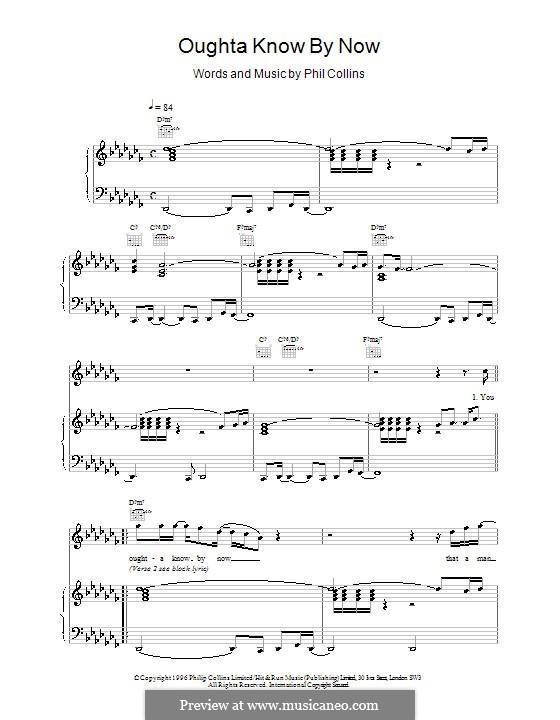 Oughta Know By Now: Para vocais e piano (ou Guitarra) by Phil Collins