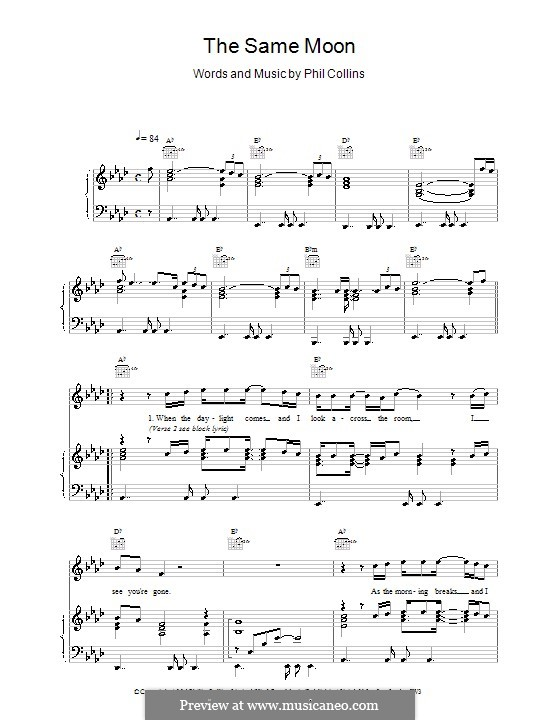 The Same Moon: Para vocais e piano (ou Guitarra) by Phil Collins