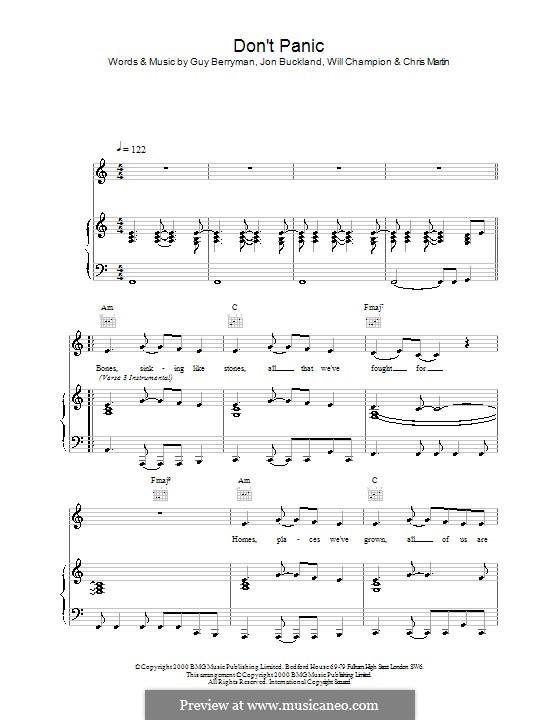 Don't Panic (Coldplay): Para vocais e piano (ou Guitarra) by Chris Martin, Guy Berryman, Jonny Buckland, Will Champion