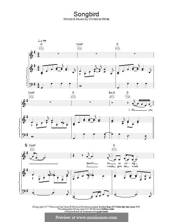 Songbird (Fleetwood Mac): Para vocais e piano (ou Guitarra) by Christine McVie