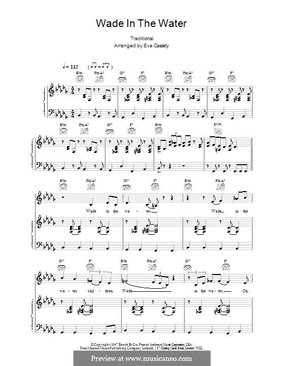 Wade in the Water: Para vocais e piano (ou Guitarra) by folklore
