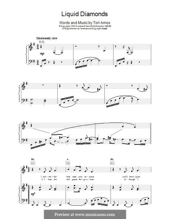 Liquid Diamonds: Para vocais e piano (ou Guitarra) by Tori Amos