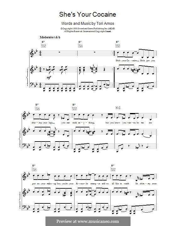 She's Your Cocaine: Para vocais e piano (ou Guitarra) by Tori Amos