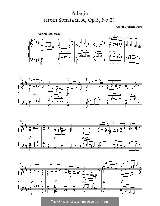 Sonata for Piano No.2, Op.3: Adágio by George Frederick Pinto