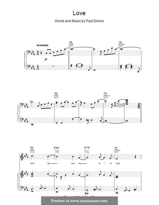 Love: Para vocais e piano (ou Guitarra) by Paul Simon