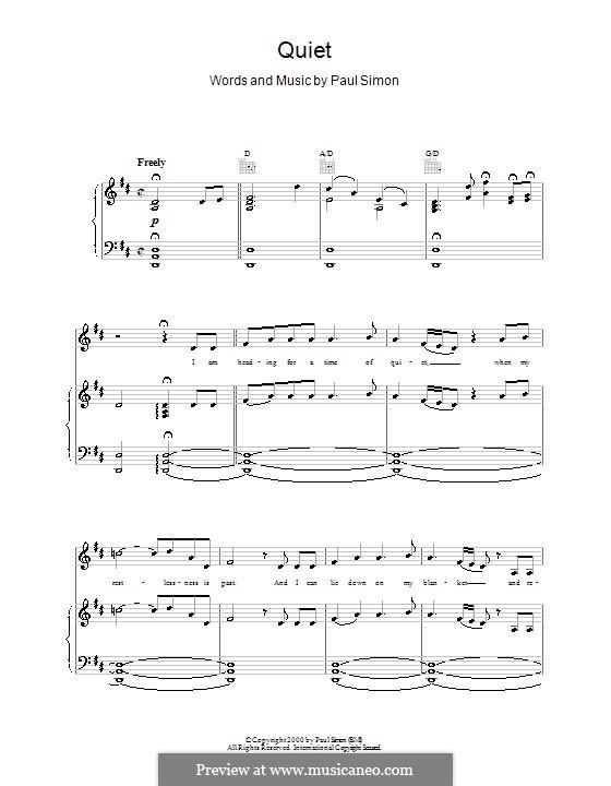 Quiet: Para vocais e piano (ou Guitarra) by Paul Simon