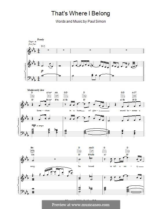 That's Where I Belong: Para vocais e piano (ou Guitarra) by Paul Simon