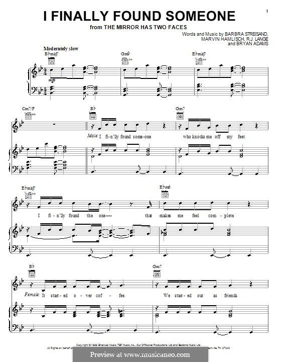 I Finally Found Someone (from The Mirror Has Two Faces): Para vocais e piano (ou Guitarra) by Barbra Streisand, Bryan Adams, Marvin Hamlisch, Robert John Lange