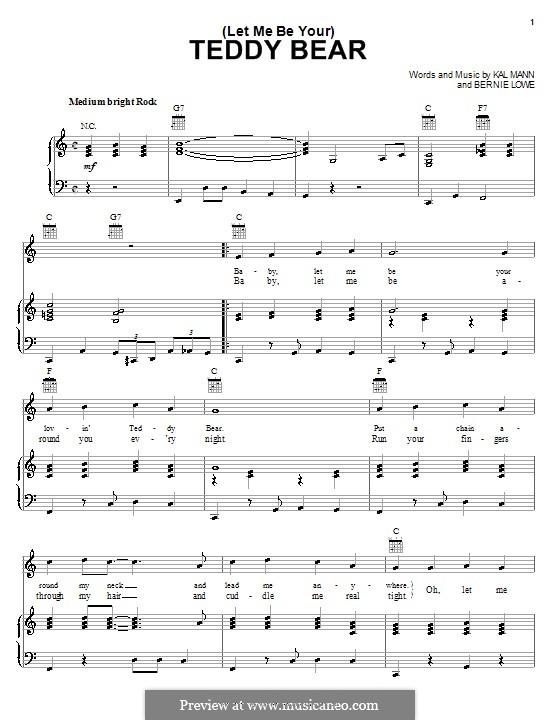 (Let Me Be Your) Teddy Bear (Elvis Presley): Para vocais e piano (ou Guitarra) by Bernie Lowe, Kal Mann