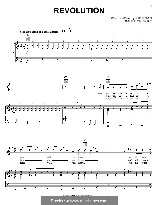 Revolution (The Beatles): Para vocais e piano (ou Guitarra) by John Lennon, Paul McCartney