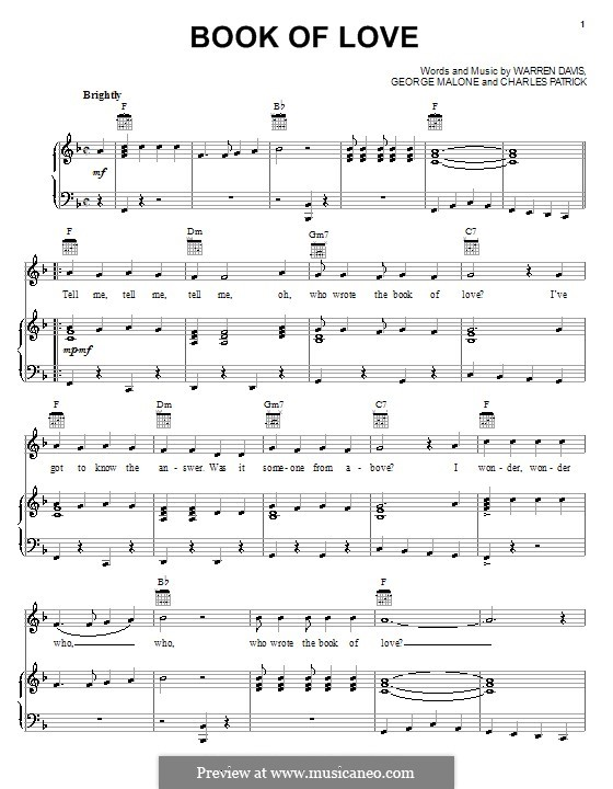 Book of Love (The Monotones): Para vocais e piano (ou Guitarra) by Charles Patrick, George Malone, Warren Davis