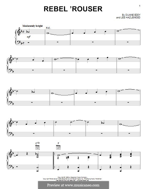 Rebel 'Rouser (Duane Eddy): Para vocais e piano (ou Guitarra) by Lee Hazlewood