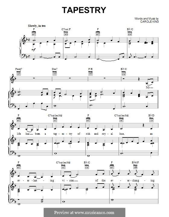 Tapestry: Para vocais e piano (ou Guitarra) by Carole King