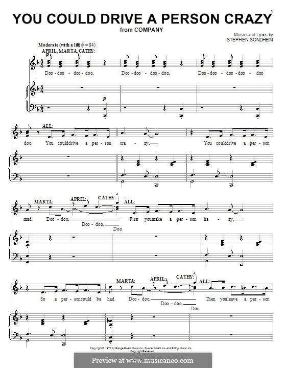 You Could Drive a Person Crazy: Para vocais e piano (ou Guitarra) by Stephen Sondheim