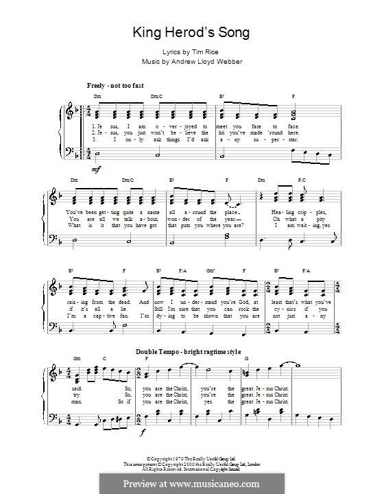 King Herod's Song: Facil para o piano by Andrew Lloyd Webber