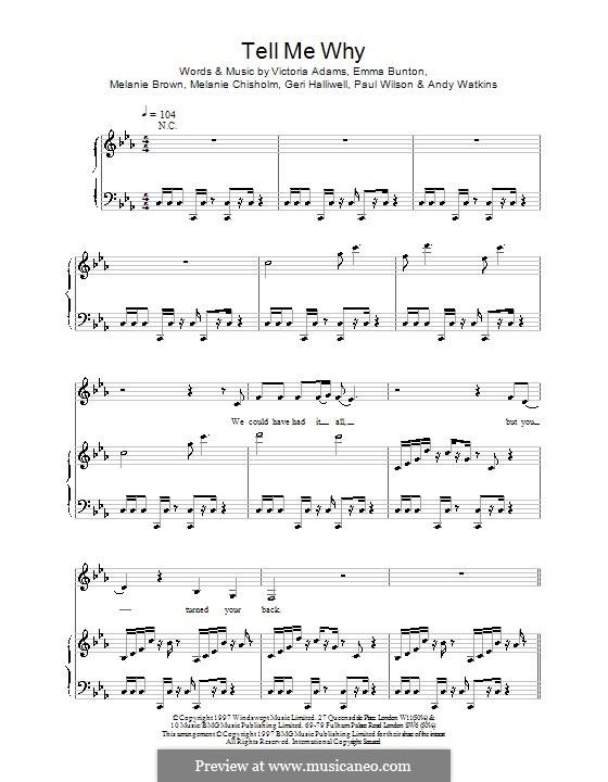 Tell Me Why (The Spice Girls): Para vocais e piano (ou Guitarra) by Emma Bunton, Melanie Brown, Victoria Adams