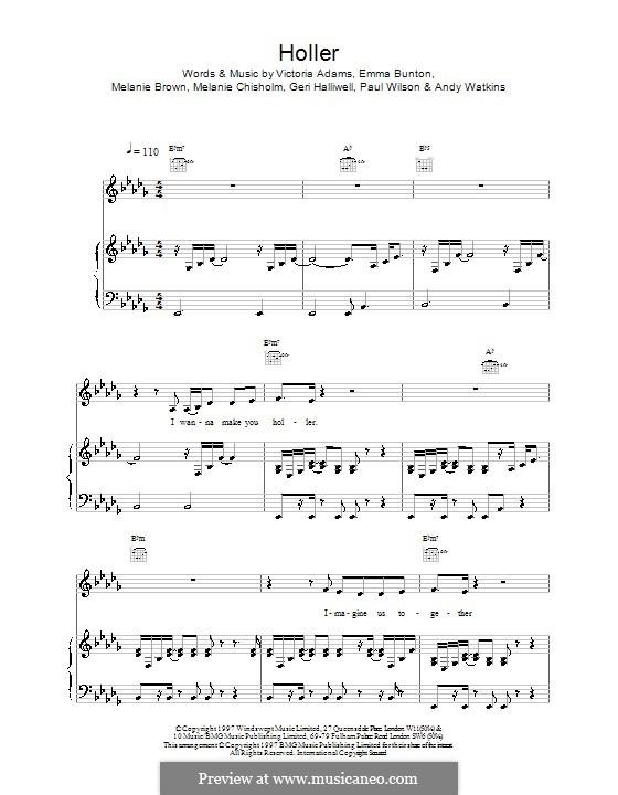 Holler (The Spice Girls): Para vocais e piano (ou Guitarra) by Emma Bunton, Melanie Brown, Victoria Adams