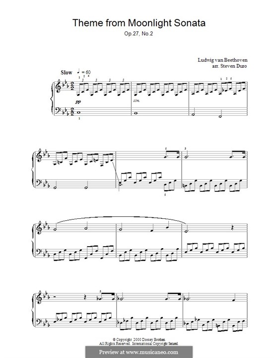 Movement I (Printable scores): For a single performer (Theme) by Ludwig van Beethoven
