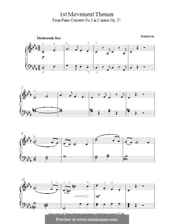 Movement I. Awakening of Happy Feelings on Arrival in the Countryside: Theme. Version for piano by Ludwig van Beethoven